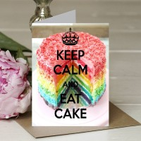 Keep Calm and Eat Cake - A5 Greetings card